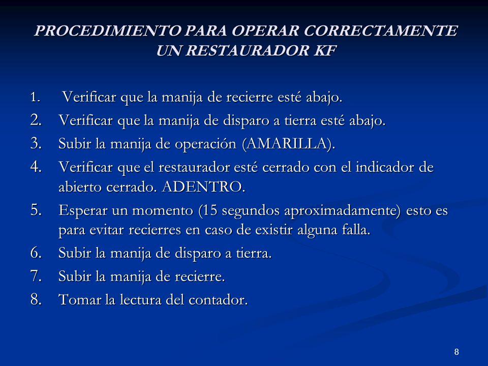 9 PROCEDIMIENTO PARA SACAR DE SERVICIO UN RESTAURADOR KF 1.