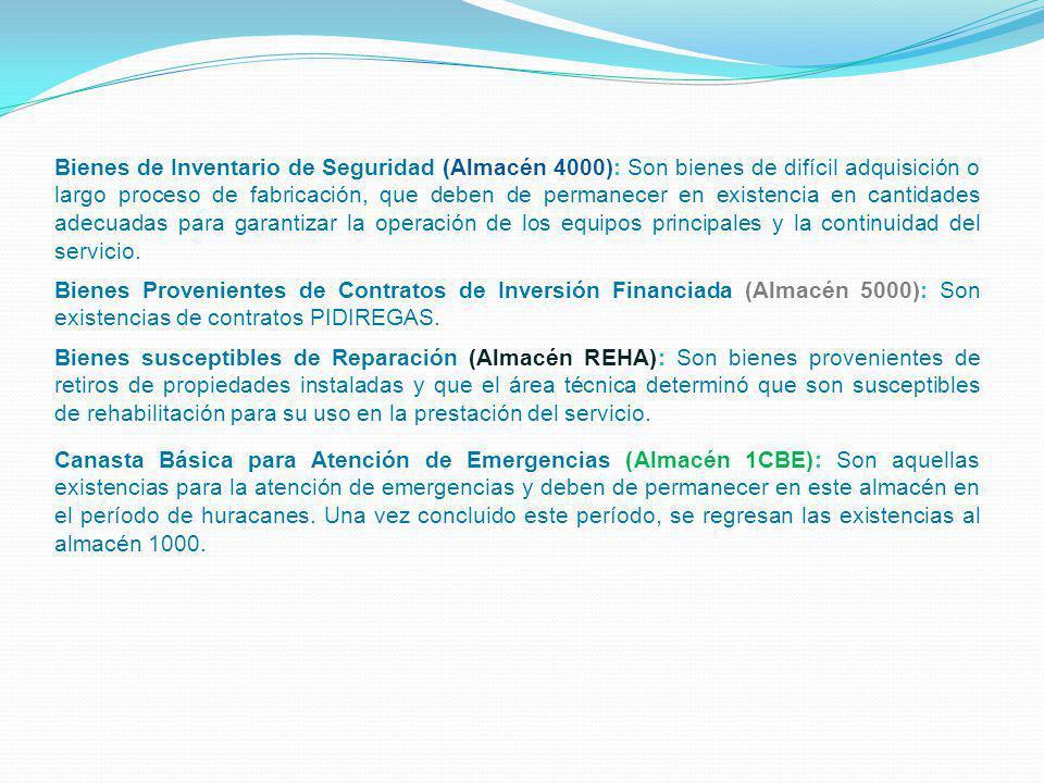 Bienes Provenientes de Contratos de Inversión Financiada (Almacén 5000): Son existencias de contratos PIDIREGAS. Bienes susceptibles de Reparación (Al