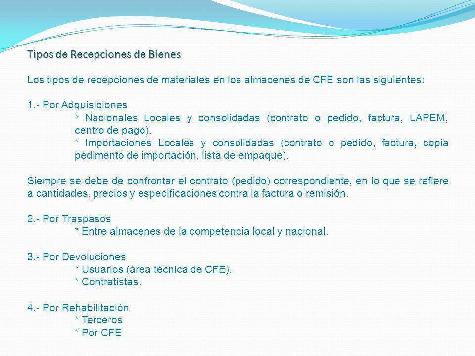 Los tipos de recepciones de materiales en los almacenes de CFE son las siguientes: 1.- Por Adquisiciones * Nacionales Locales y consolidadas (contrato