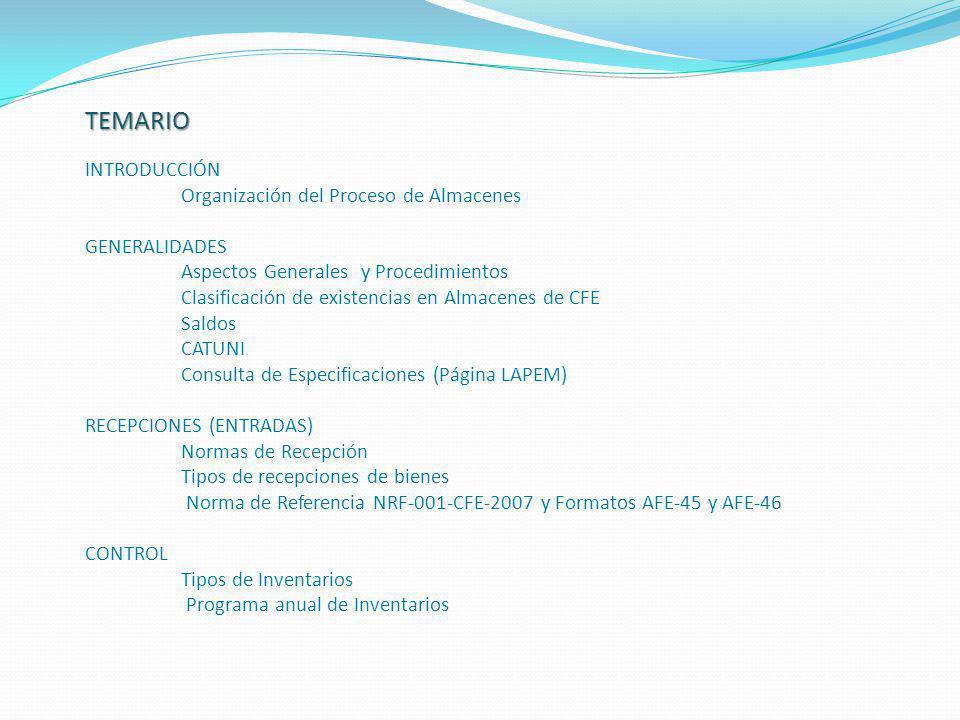 INTRODUCCIÓN Organización del Proceso de Almacenes GENERALIDADES Aspectos Generales y Procedimientos Clasificación de existencias en Almacenes de CFE