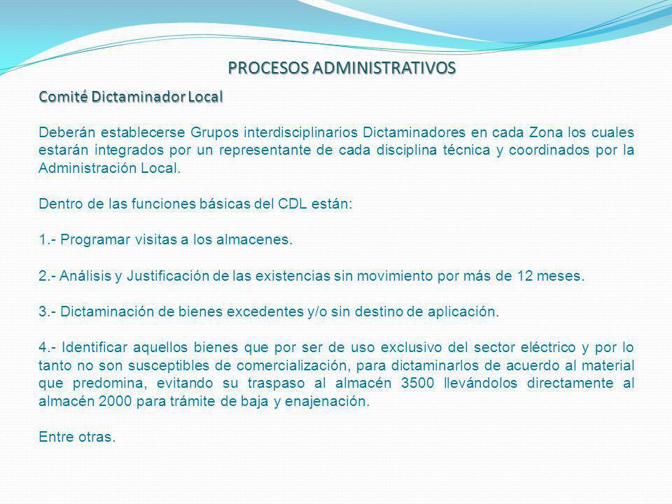 PROCESOS ADMINISTRATIVOS Comité Dictaminador Local Deberán establecerse Grupos interdisciplinarios Dictaminadores en cada Zona los cuales estarán inte