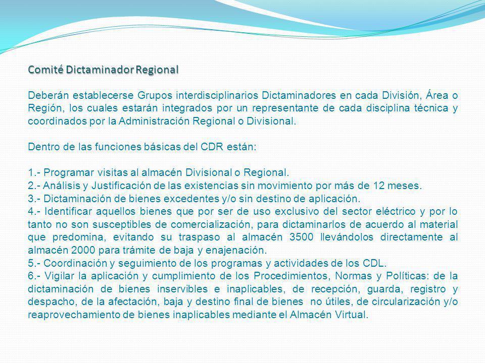 Comité Dictaminador Regional Deberán establecerse Grupos interdisciplinarios Dictaminadores en cada División, Área o Región, los cuales estarán integr