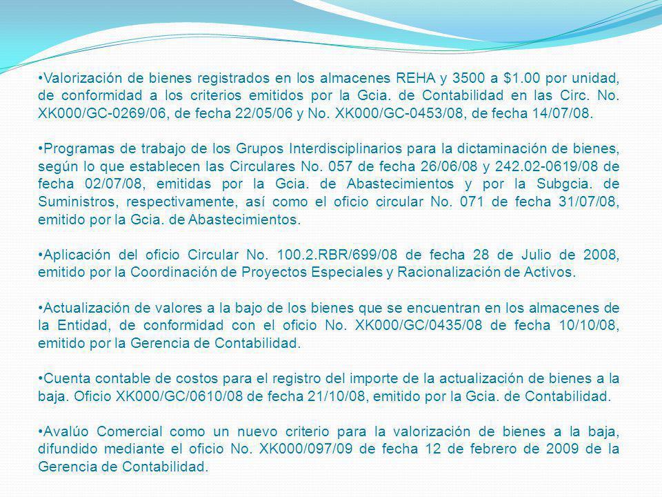 Valorización de bienes registrados en los almacenes REHA y 3500 a $1.00 por unidad, de conformidad a los criterios emitidos por la Gcia. de Contabilid