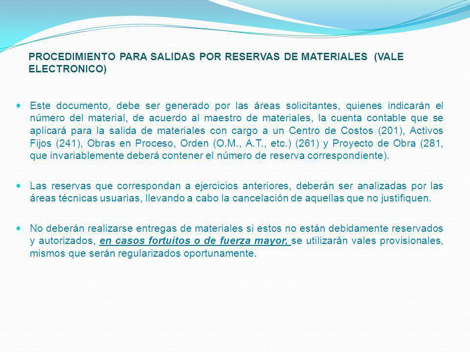 PROCEDIMIENTO PARA SALIDAS POR RESERVAS DE MATERIALES (VALE ELECTRONICO) Este documento, debe ser generado por las áreas solicitantes, quienes indicar