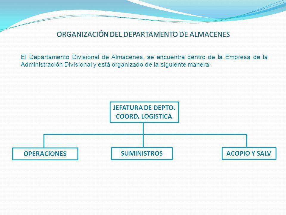 JEFATURA DE DEPTO. COORD. LOGISTICA OPERACIONES SUMINISTROS ACOPIO Y SALV ORGANIZACIÓN DEL DEPARTAMENTO DE ALMACENES El Departamento Divisional de Alm