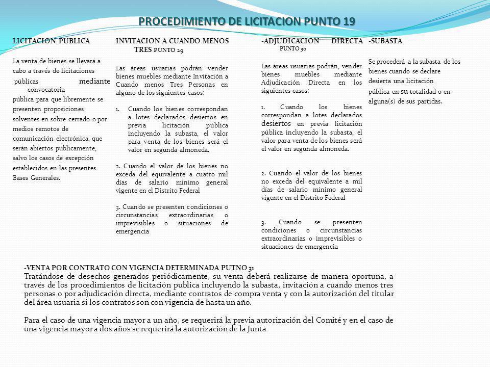 LICITACION PUBLICA La venta de bienes se llevará a cabo a través de licitaciones públicas mediante convocatoria pública para que libremente se present
