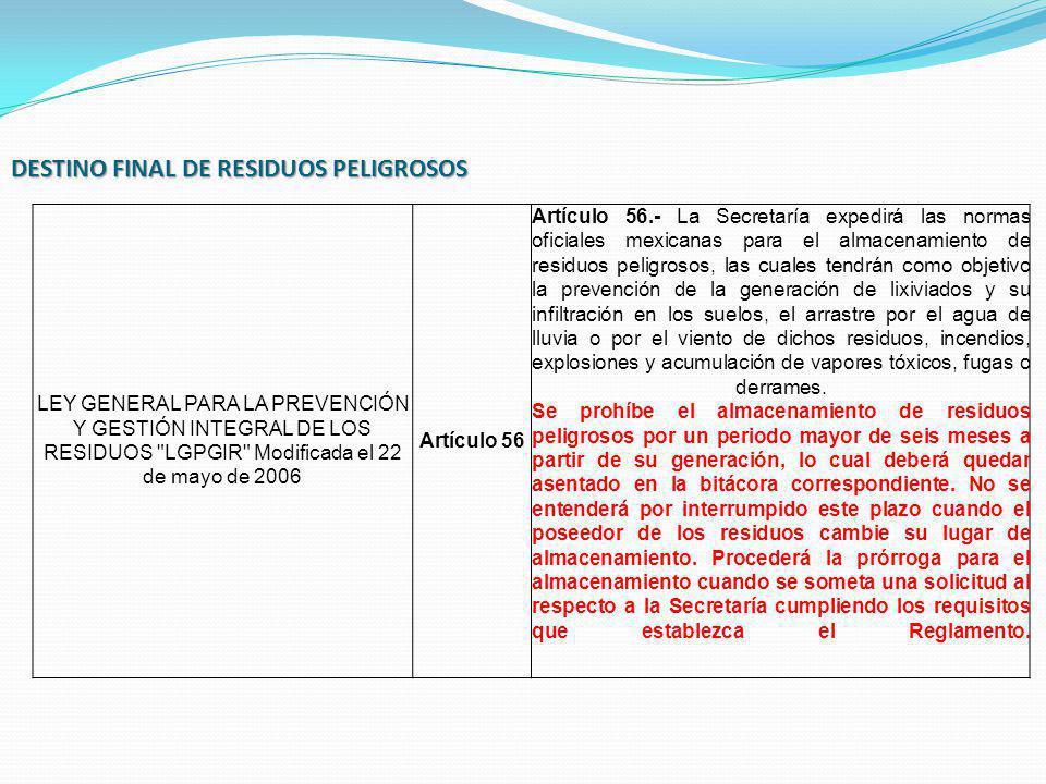 DESTINO FINAL DE RESIDUOS PELIGROSOS LEY GENERAL PARA LA PREVENCIÓN Y GESTIÓN INTEGRAL DE LOS RESIDUOS