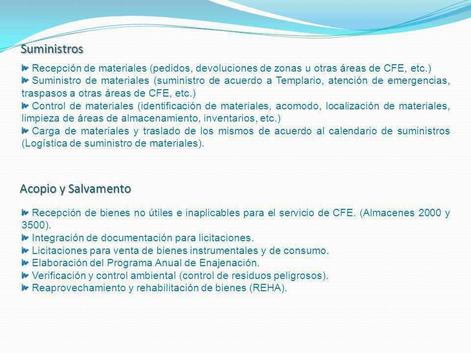 Suministros Recepción de materiales (pedidos, devoluciones de zonas u otras áreas de CFE, etc.) Recepción de materiales (pedidos, devoluciones de zona