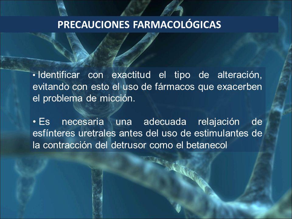 PRECAUCIONES FARMACOLÓGICAS Identificar con exactitud el tipo de alteración, evitando con esto el uso de fármacos que exacerben el problema de micción.