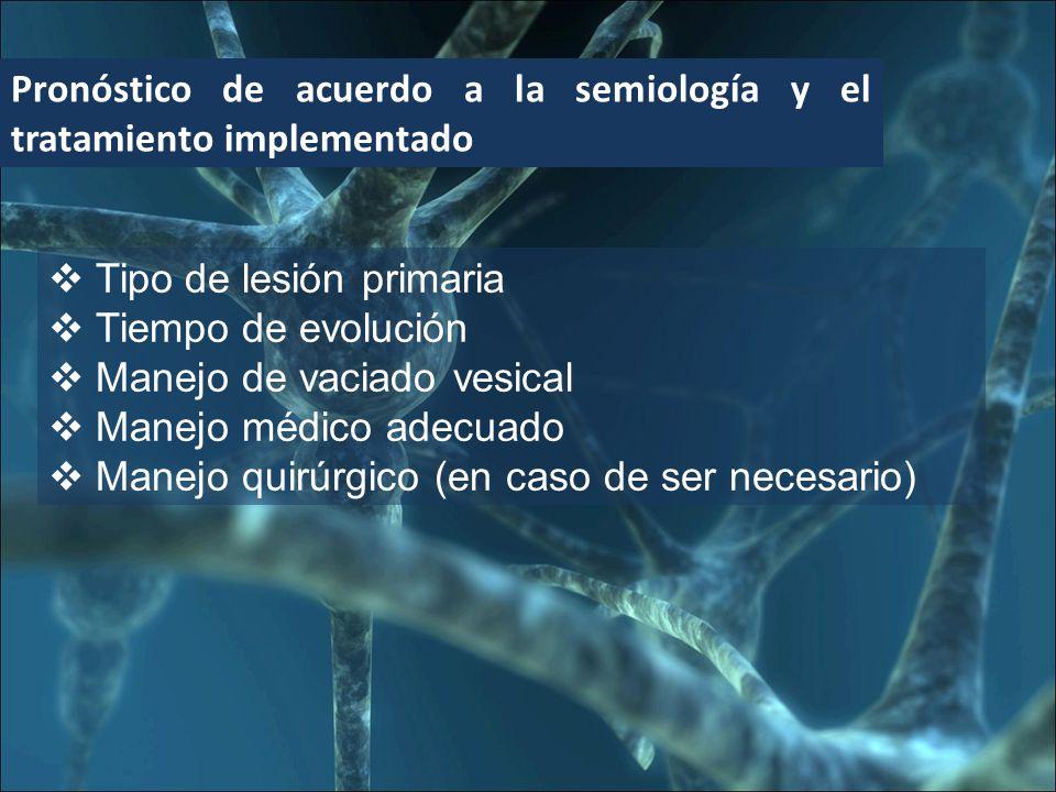 Pronóstico de acuerdo a la semiología y el tratamiento implementado Tipo de lesión primaria Tiempo de evolución Manejo de vaciado vesical Manejo médico adecuado Manejo quirúrgico (en caso de ser necesario)