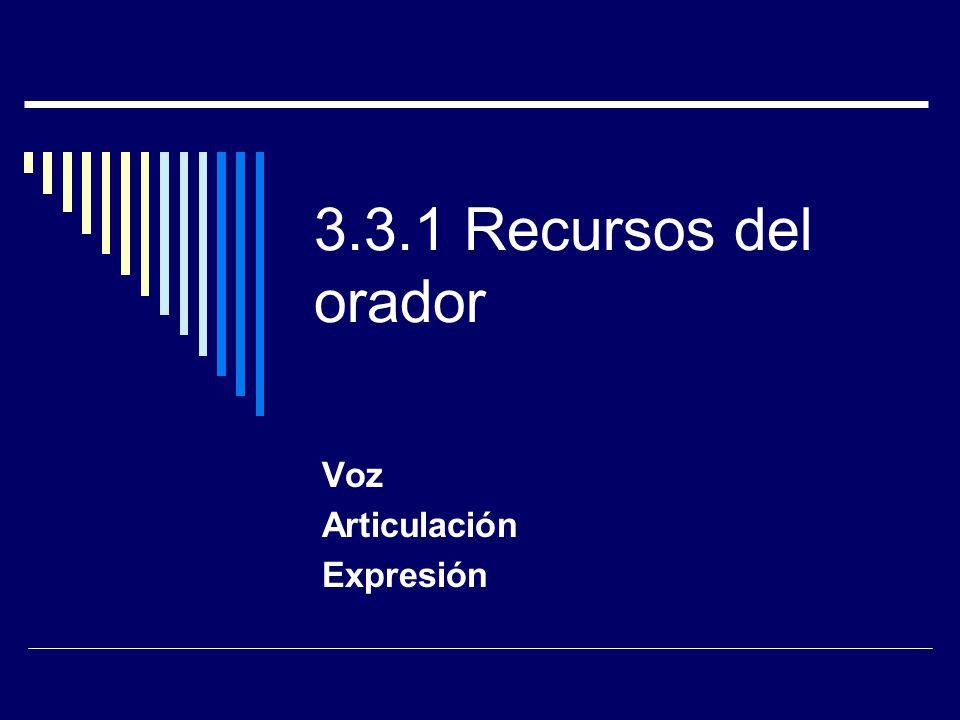 3.3.1 Recursos del orador Voz Articulación Expresión