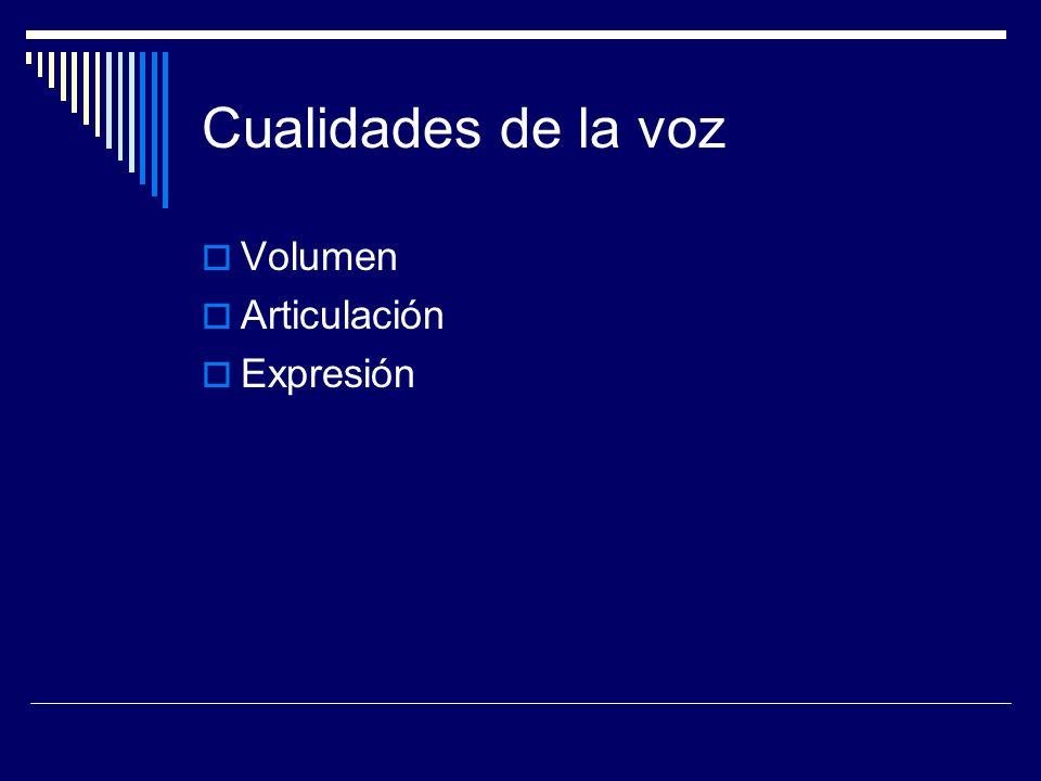Cualidades de la voz Volumen Articulación Expresión