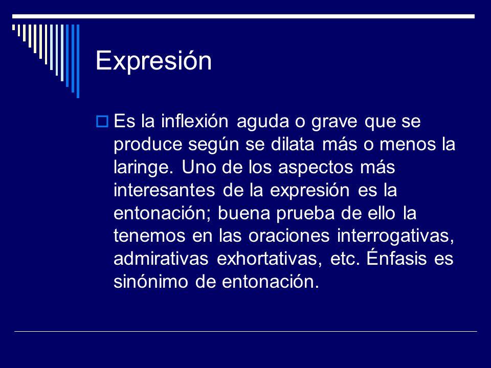 Expresión Es la inflexión aguda o grave que se produce según se dilata más o menos la laringe. Uno de los aspectos más interesantes de la expresión es