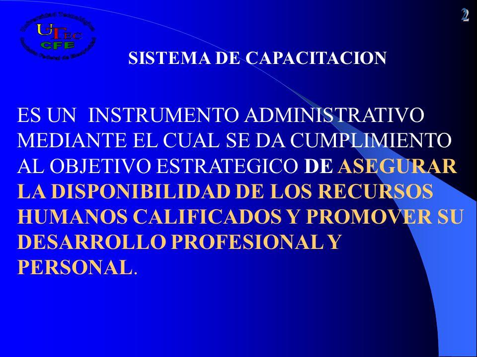 SISTEMA DE CAPACITACION ES UN INSTRUMENTO ADMINISTRATIVO MEDIANTE EL CUAL SE DA CUMPLIMIENTO AL OBJETIVO ESTRATEGICO DE ASEGURAR LA DISPONIBILIDAD DE