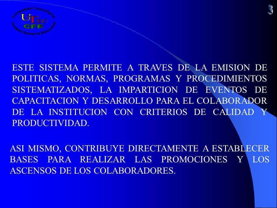 ESTE SISTEMA PERMITE A TRAVES DE LA EMISION DE POLITICAS, NORMAS, PROGRAMAS Y PROCEDIMIENTOS SISTEMATIZADOS, LA IMPARTICION DE EVENTOS DE CAPACITACION