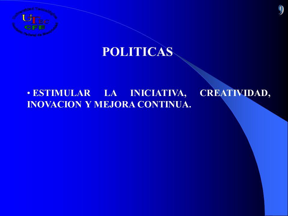 POLITICAS ESTIMULAR LA INICIATIVA, CREATIVIDAD, INOVACION Y MEJORA CONTINUA.