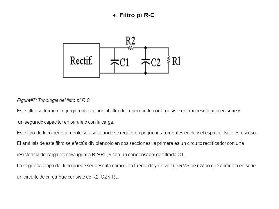 Filtro pi R-C Figura#7: Topología del filtro pi R-C Este filtro se forma al agregar otra sección al filtro de capacitor, la cual consiste en una resistencia en serie y un segundo capacitor en paralelo con la carga.