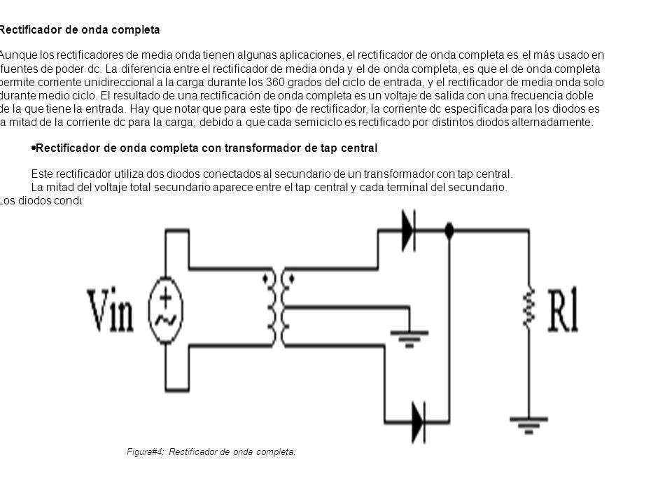 Rectificador de onda completa Aunque los rectificadores de media onda tienen algunas aplicaciones, el rectificador de onda completa es el más usado en fuentes de poder dc.