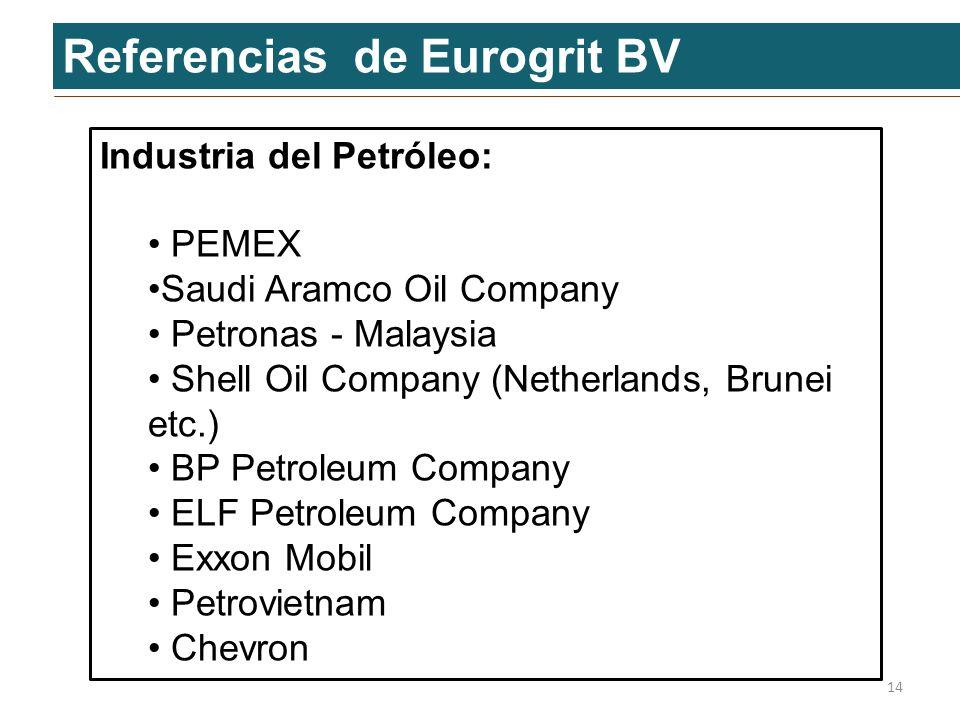 Referencias de Eurogrit BV Industria del Petróleo: PEMEX PEMEX Saudi Aramco Oil CompanySaudi Aramco Oil Company Petronas - Malaysia Petronas - Malaysi