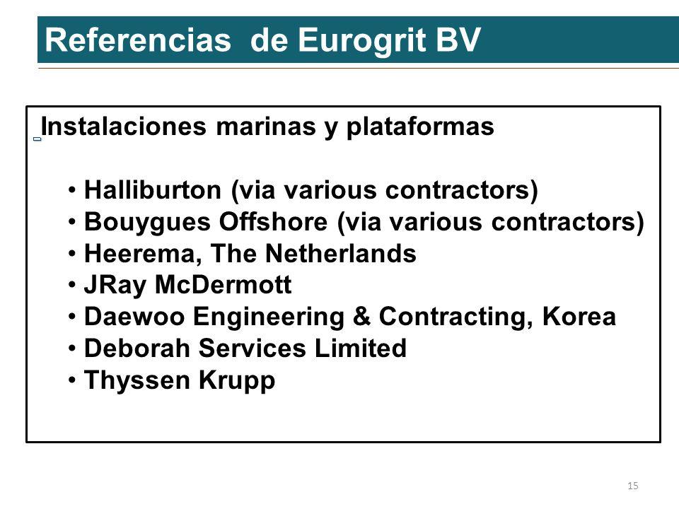 Referencias de Eurogrit BV 15