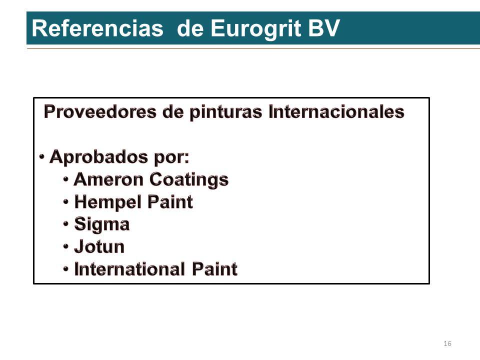 Referencias de Eurogrit BV 16