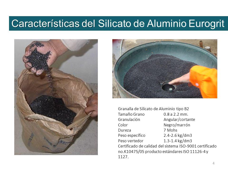 4 Granalla de Silicato de Aluminio tipo B2 Tamaño Grano 0.8 a 2.2 mm. Granulación Angular/cortante ColorNegro/marrón Dureza7 Mohs Peso específico2.4-2
