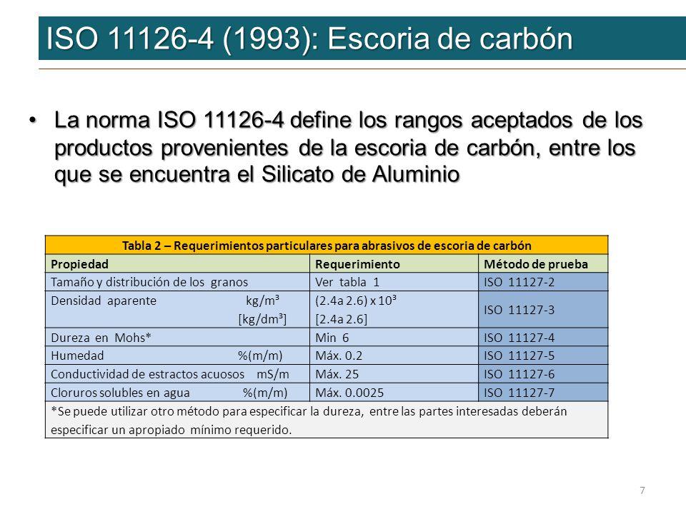 ISO 11126-4 (1993): Escoria de carbón ISO 11126-4 (1993): Escoria de carbón Los resultados de los análisis practicados al Silicato de Aluminio Eurogrit son los siguientes:Los resultados de los análisis practicados al Silicato de Aluminio Eurogrit son los siguientes: 8