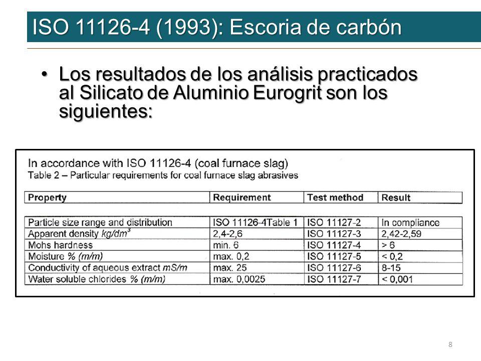 ISO 11126-4 (1993): Escoria de carbón ISO 11126-4 (1993): Escoria de carbón Los resultados de los análisis practicados al Silicato de Aluminio Eurogri