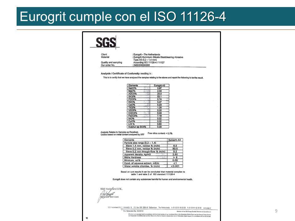 ISO 11126-4 Eurogrit cumple con el ISO 11126-4 9