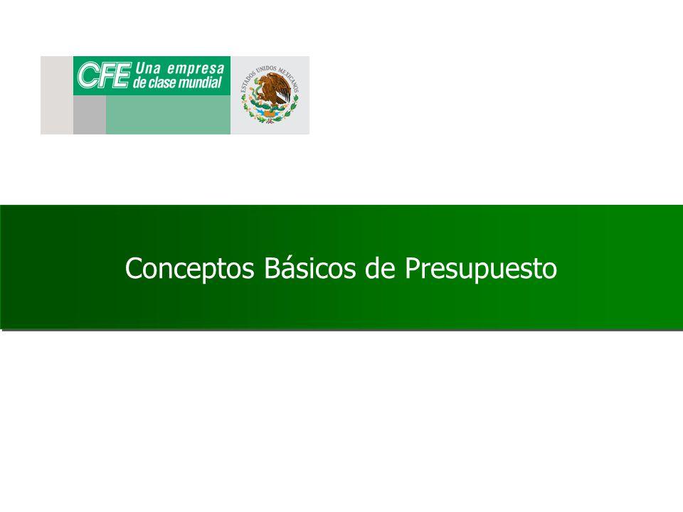 Conceptos Básicos de Presupuestos AL FINALIZAR EL CURSO EL PARTICIPANTE IDENTIFICARA LAS FUNCIONES PRESUPUESTALES EN EL SISTEMA MYSAP Y SU IMPACTO DENTRO DEL DESARROLLO DE LA OPERACIÓN DE LA CFE.