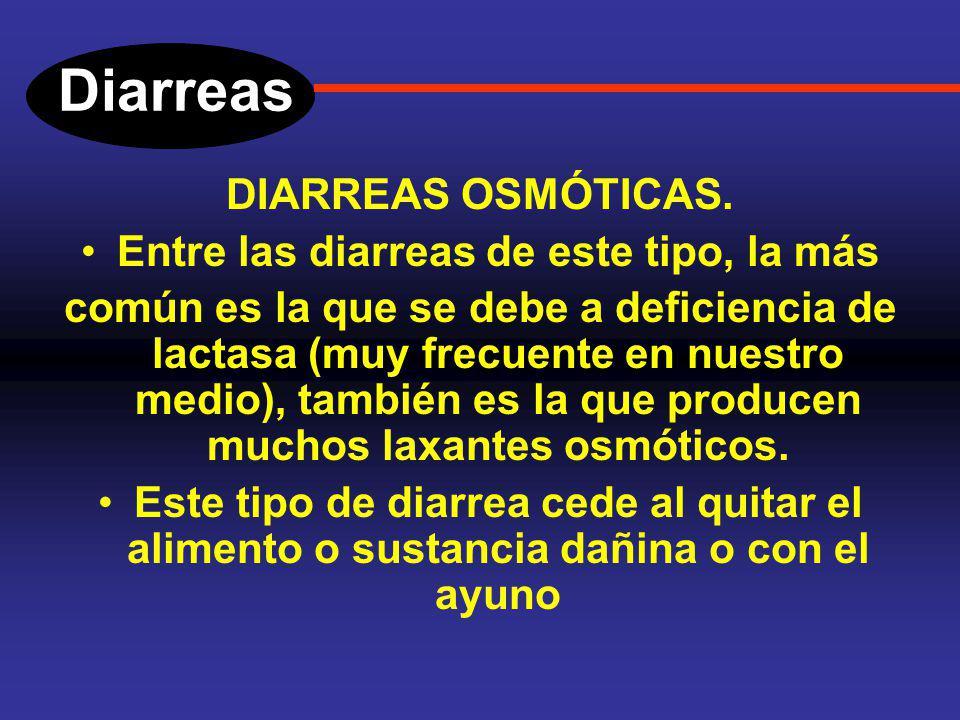 Diarreas DIARREAS OSMOTICAS. Se debe a un aumento de solutos dentro de la luz intestinal, los cuales no se absorben, con frecuencia estos solutos son