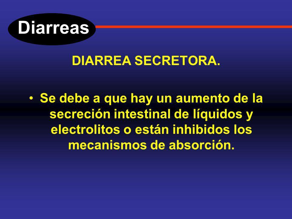Diarreas DIARREAS OSMÓTICAS. Entre las diarreas de este tipo, la más común es la que se debe a deficiencia de lactasa (muy frecuente en nuestro medio)