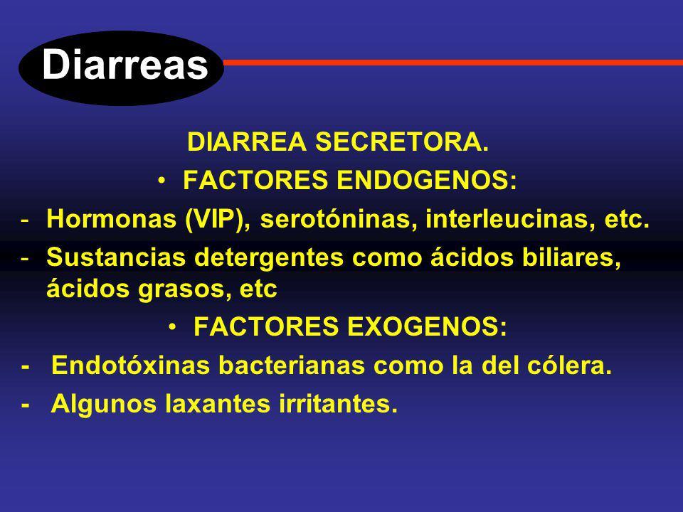 Diarreas DIARREA SECRETORA. Este tipo de diarreas, no ceden con el ayuno. En ellas esta alterado el equilibrio entre aniones y cationes, es un tipo de