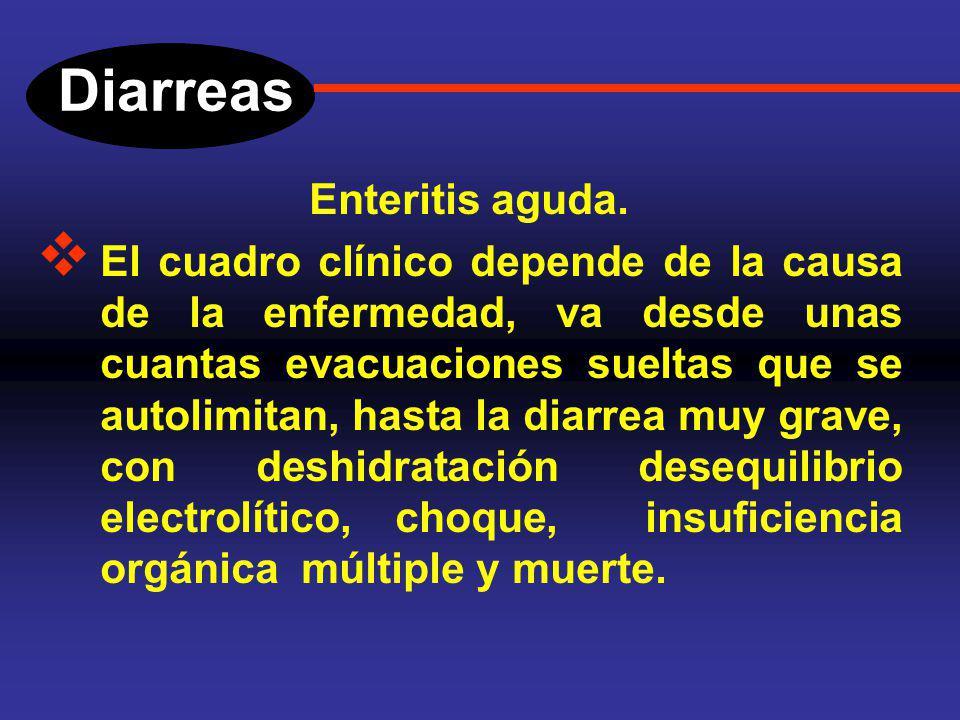 Diarreas Enteritis aguda. o Bacterias: Vibrio colera, Shigella, Salmonela, Esterptococo, Escherichia coli, Campliobacter jejuni, etc. o Virus: Rotavir