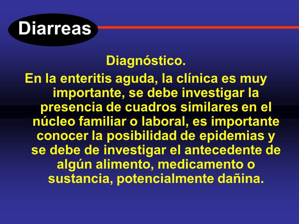 Diarreas Enteritis aguda. Entre los síntomas que usualmente acompañan a este cuadro se incluyen; Evacuaciones pastosas, liquidas, ardor y tenesmo rect