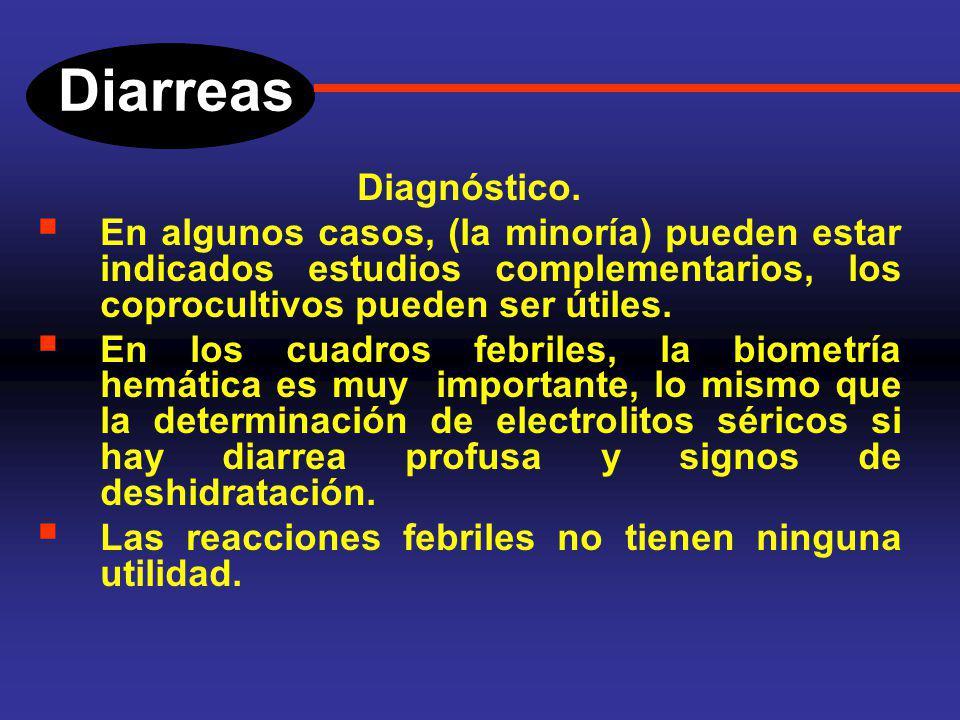 Diarreas Diagnóstico. En la enteritis aguda, la clínica es muy importante, se debe investigar la presencia de cuadros similares en el núcleo familiar