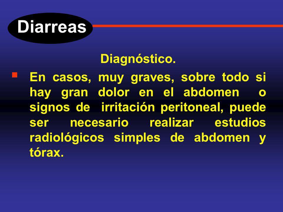 Diarreas Diagnóstico. En algunos casos, (la minoría) pueden estar indicados estudios complementarios, los coprocultivos pueden ser útiles. En los cuad