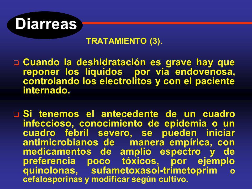 Diarreas TRATAMIENTO (2). Medicamentos antidiarreicos (Loperamida, bismuto, difenoxilato), de uso limitado, solo en el adulto. Reposición de volumen p