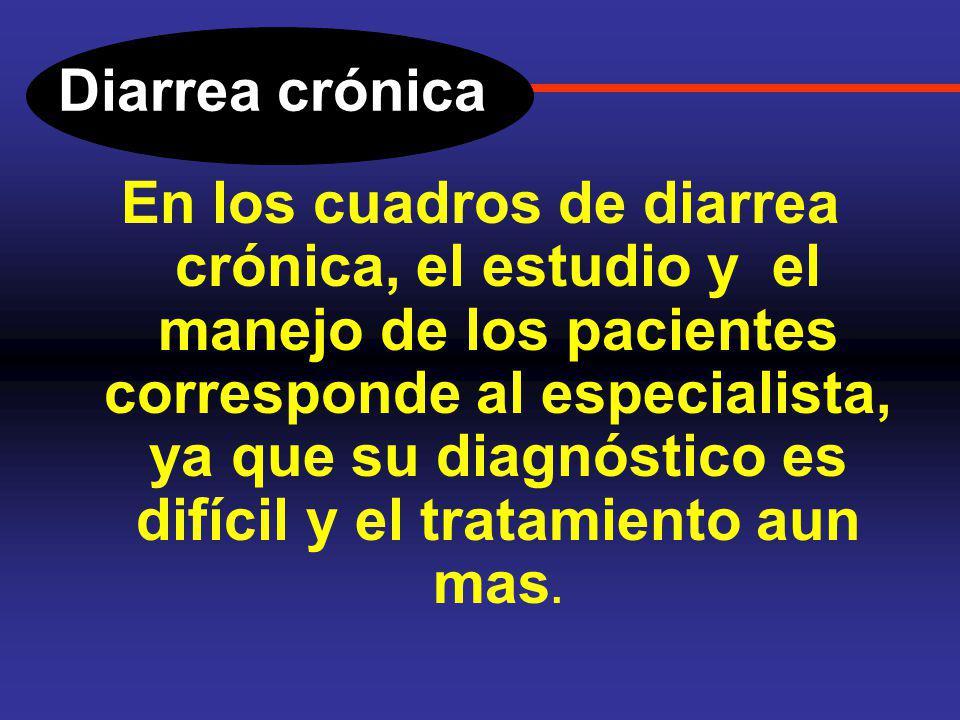Diarrea crónica ETIOLOGIA. Síndrome de Intestino Irritable. Toma de medicamentos Hipertiroidismo, Diabetes mellitus. Tumores productores de hormonas (