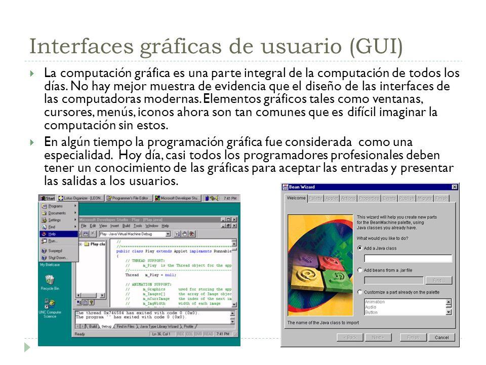 Interfaces gráficas de usuario (GUI) La computación gráfica es una parte integral de la computación de todos los días. No hay mejor muestra de evidenc