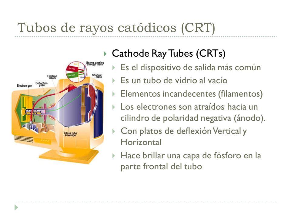 Tubos de rayos catódicos (CRT) Cathode Ray Tubes (CRTs) Es el dispositivo de salida más común Es un tubo de vidrio al vacío Elementos incandecentes (f