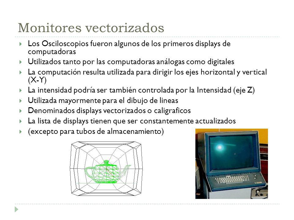 Monitores vectorizados Los Osciloscopios fueron algunos de los primeros displays de computadoras Utilizados tanto por las computadoras análogas como d