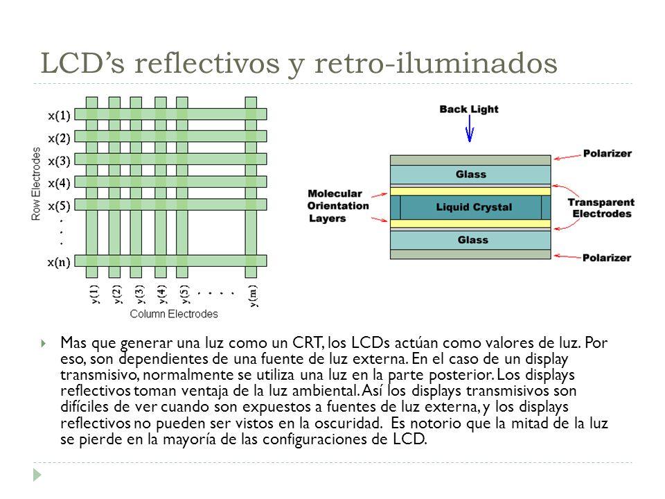 LCDs reflectivos y retro-iluminados Mas que generar una luz como un CRT, los LCDs actúan como valores de luz. Por eso, son dependientes de una fuente
