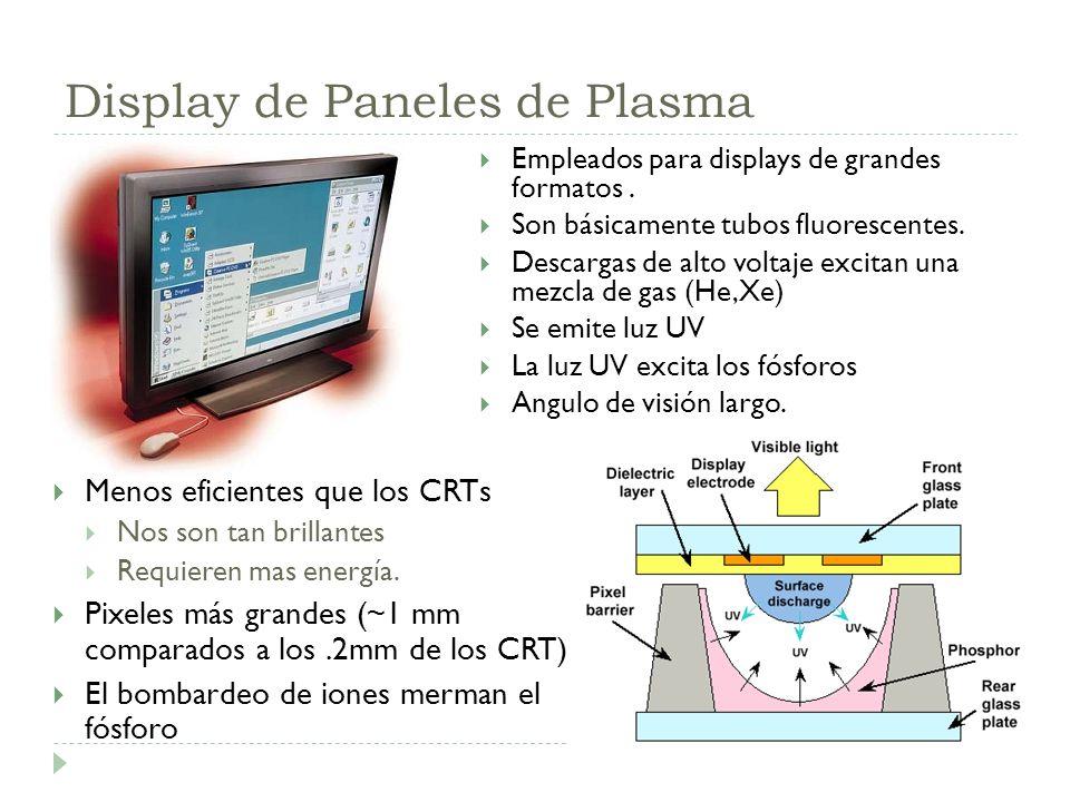 Display de Paneles de Plasma Menos eficientes que los CRTs Nos son tan brillantes Requieren mas energía. Pixeles más grandes (~1 mm comparados a los.2