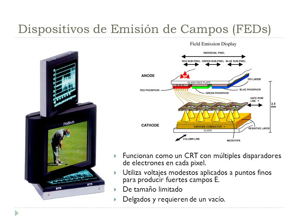 Dispositivos de Emisión de Campos (FEDs) Funcionan como un CRT con múltiples disparadores de electrones en cada pixel. Utiliza voltajes modestos aplic