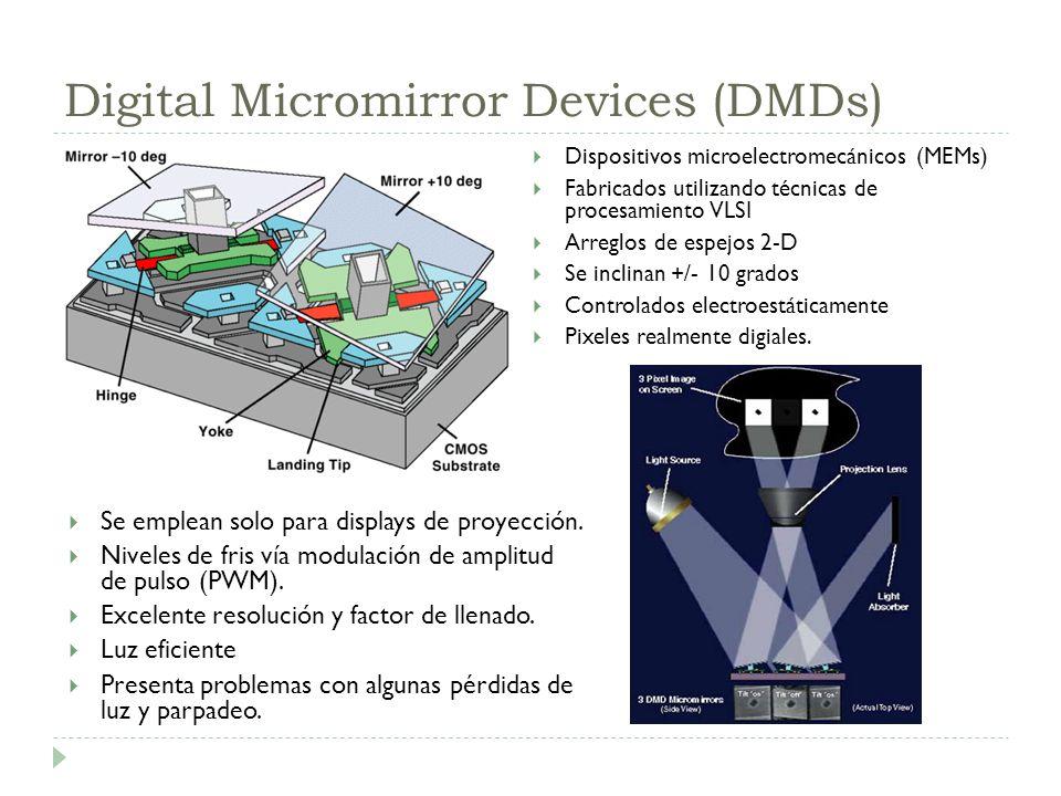 Digital Micromirror Devices (DMDs) Dispositivos microelectromecánicos (MEMs) Fabricados utilizando técnicas de procesamiento VLSI Arreglos de espejos