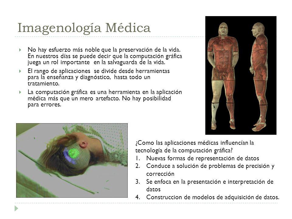 Imagenología Médica No hay esfuerzo más noble que la preservación de la vida. En nuestros días se puede decir que la computación gráfica juega un rol
