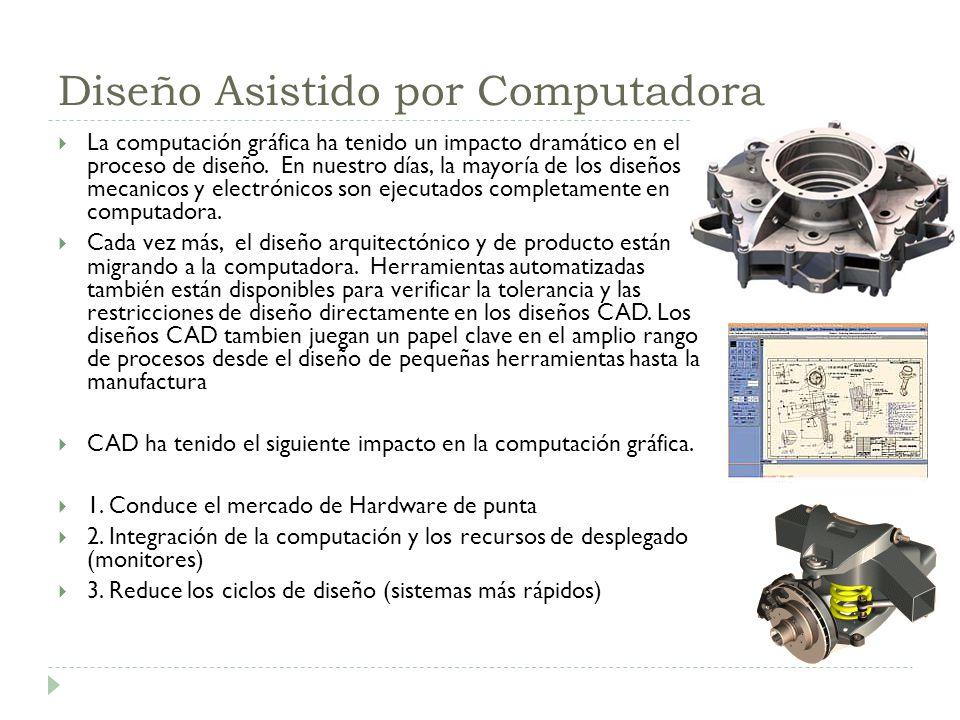 Diseño Asistido por Computadora La computación gráfica ha tenido un impacto dramático en el proceso de diseño. En nuestro días, la mayoría de los dise