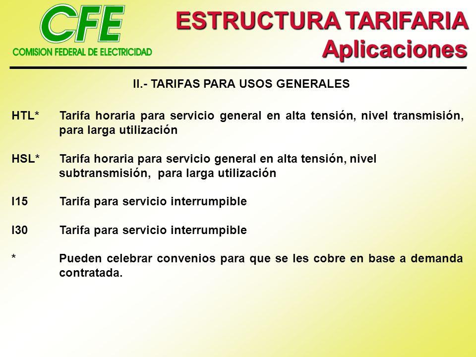 ESTRUCTURA TARIFARIA Aplicaciones II.- TARIFAS PARA USOS GENERALES HTL*Tarifa horaria para servicio general en alta tensión, nivel transmisión, para l
