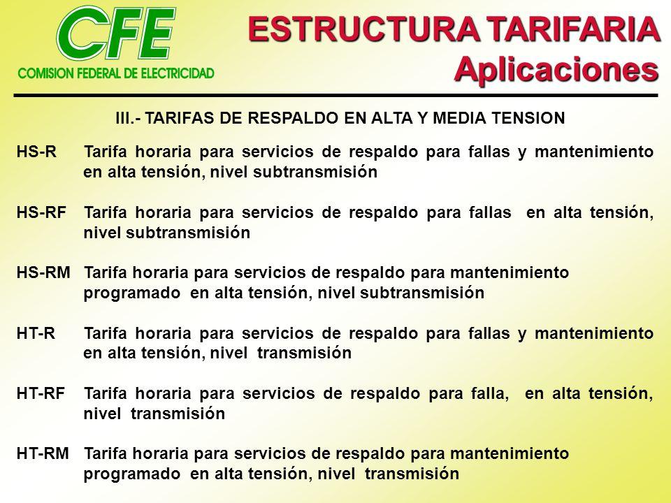 ESTRUCTURA TARIFARIA Aplicaciones III.- TARIFAS DE RESPALDO EN ALTA Y MEDIA TENSION HS-RTarifa horaria para servicios de respaldo para fallas y manten